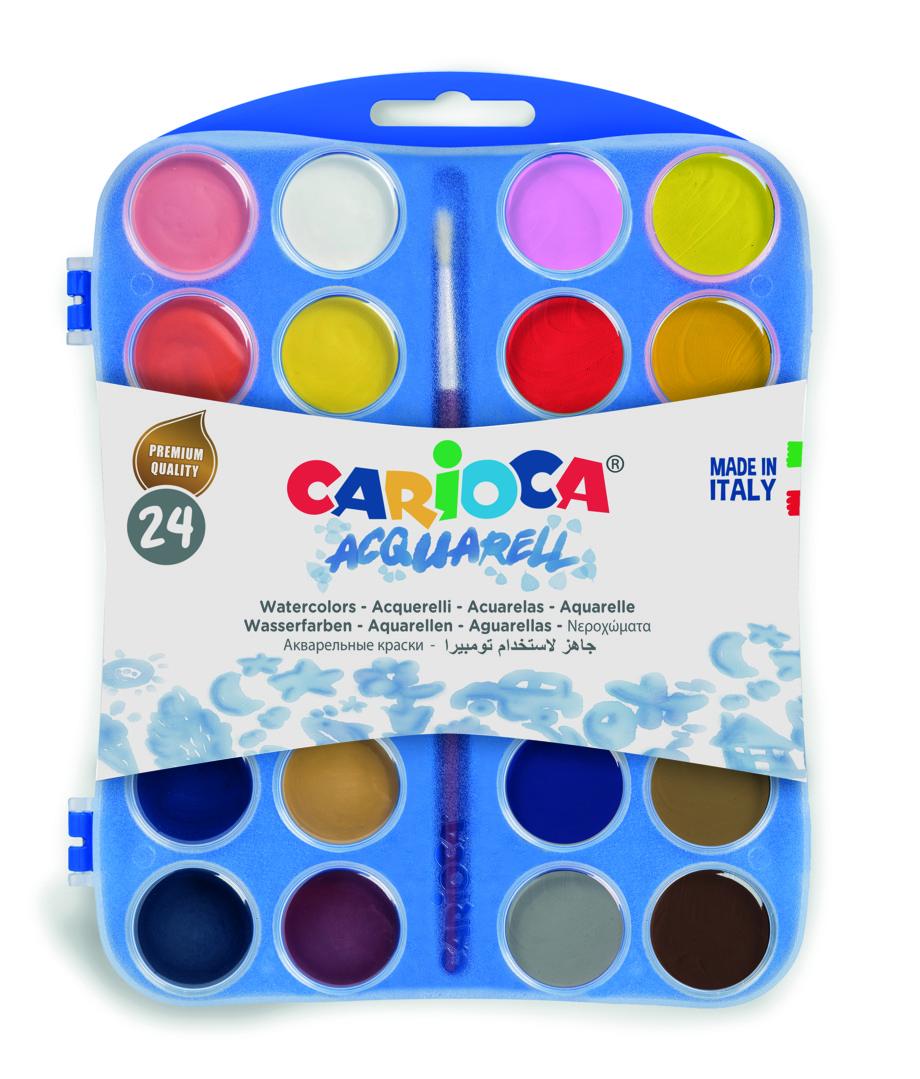 Acuarele lavabile, 24 culori/cutie cu  2 pensule, Carioca Aquarell