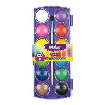 Acuarele Strigo cu pensula 12 culori