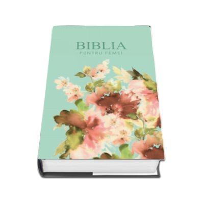 Biblia pentru femei, mare, coperta pvc flexibila, verde pal, cu model floral