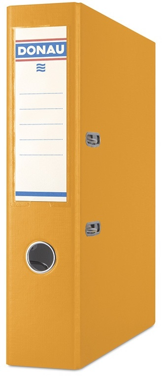 Biblioraft A4, plastifiat PP/PP, margine metalica, 75 mm, Donau Premium - orange