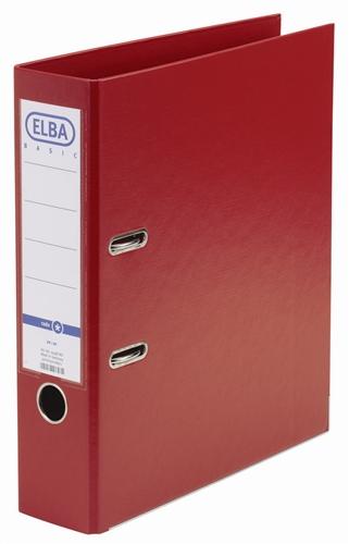 Biblioraft A4, plastifiat PP/PP, margine metalica, 80 mm, Elba Smart Pro  - rosu