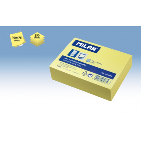 Post-it adeziv, 75x100mm, galben pal, 250 coli, Milan