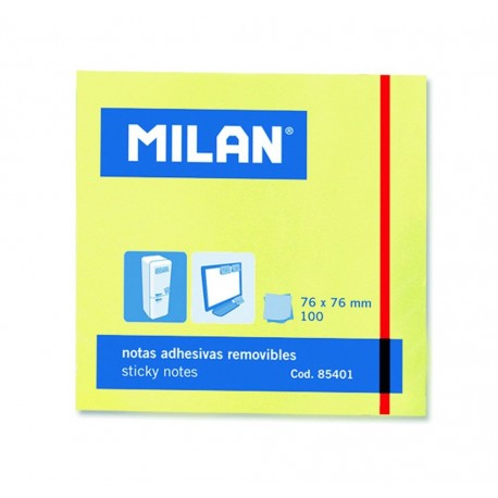 Post-it adeziv, 76x76mm,  galben pal, Milan