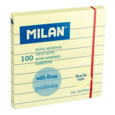 Bloc notes adeziv 76x76 liniat galben pal, Milan