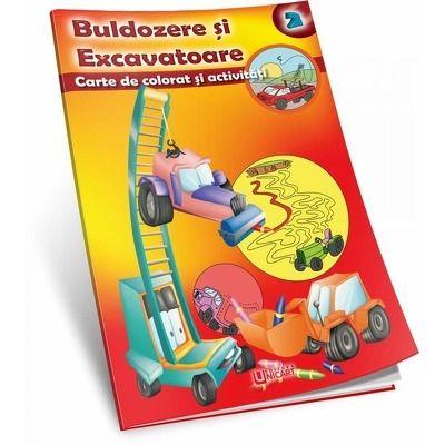 Buldozere si excavatoare - carte de colorat si activitati