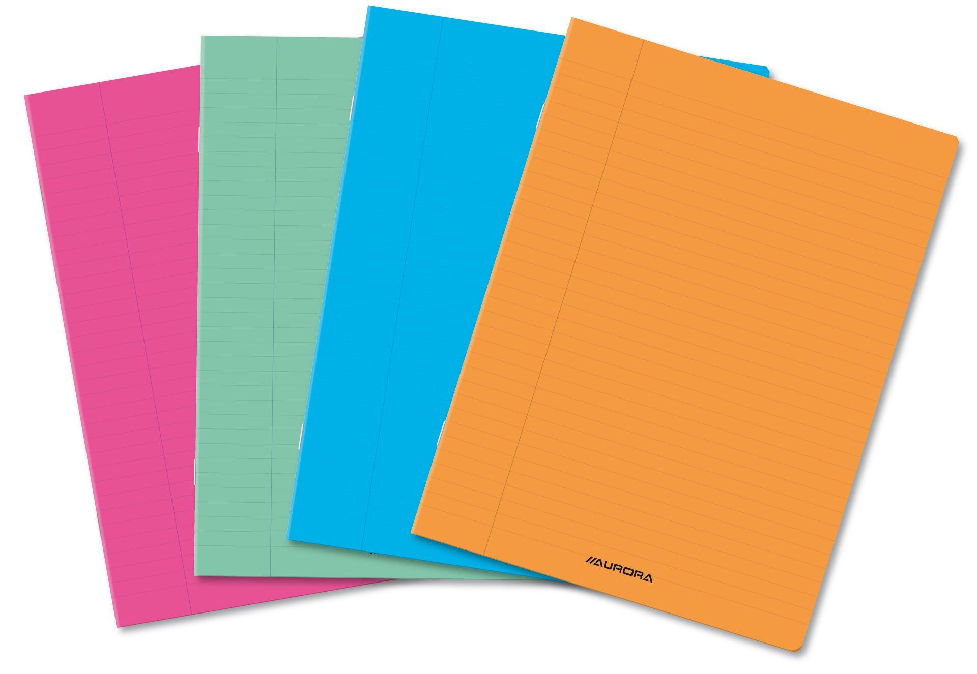 Caiet dictando A5, 36 file, liniat stanga, coperta PP transparent color, Aurora