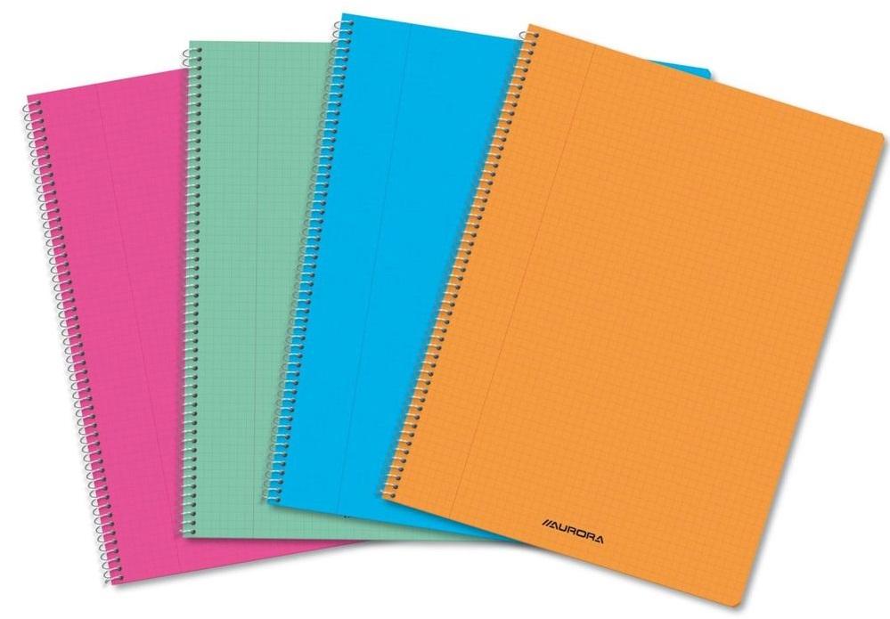 Caiet studentesc cu foaie velina, cu spirala, 60 file, coperta PP transparent color, Aurora