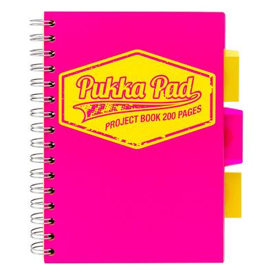 Caiet cu spirala si separatoare, matematica A5 roz, Pukka Pads Project Book Neon