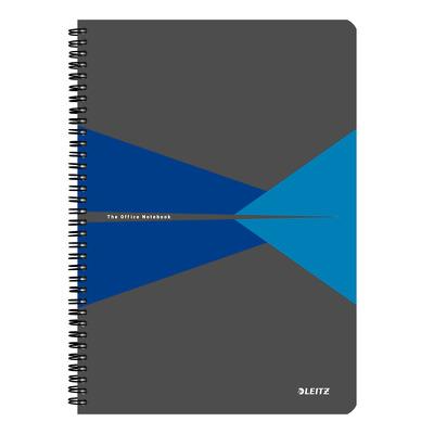 Caiet de birou Leitz Office, PP, A4, cu spira, dictando - albastru
