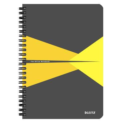 Caiet de birou Leitz Office, PP, A5, cu spira, matematica - galben