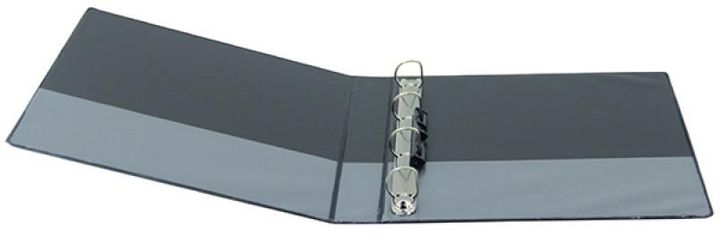 Caiet mecanic cu buzunar, plastifiat PP, 4 inele in D, 50 mm, cotor 75mm, Donau - negru
