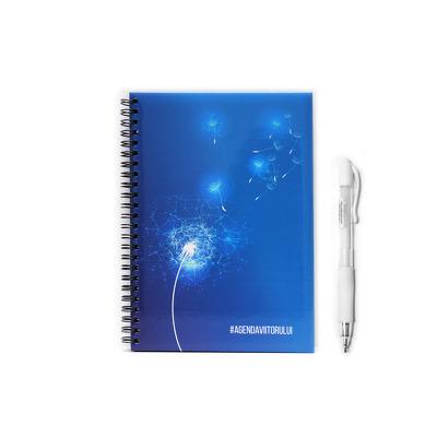 Caiet Schite Hartie Neagra + Pix cu cerneala ALBA, albastru