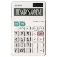 Calculator de birou, 12 digits, 153 x 97 x 18 mm, dual power, ecran rabatabil, Sharp EL-320W - alb