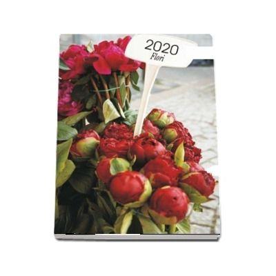 Calendar 2020 de perete cu flori - Cu spira alba si agatatoare