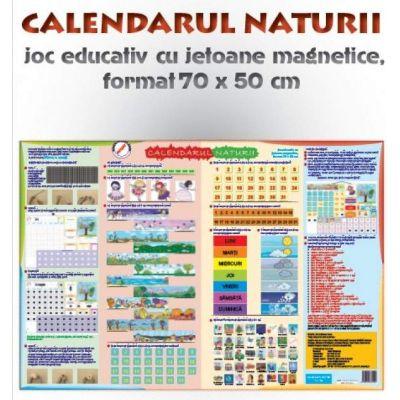 Calendarul naturii - joc didactic cu jetoane magnetice (format 70x50 cm) - Pentru, intalnirea de dimineata