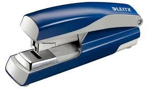 Capsator de birou cu capsare plata,  40 coli, metalic, albastru, Leitz