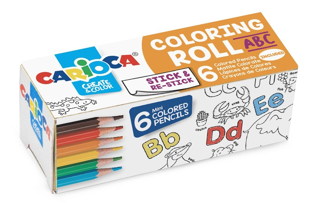 Carioca Coloring Roll Mini, 10 x 85 cm/rola, hartie autoadeziva - ABC