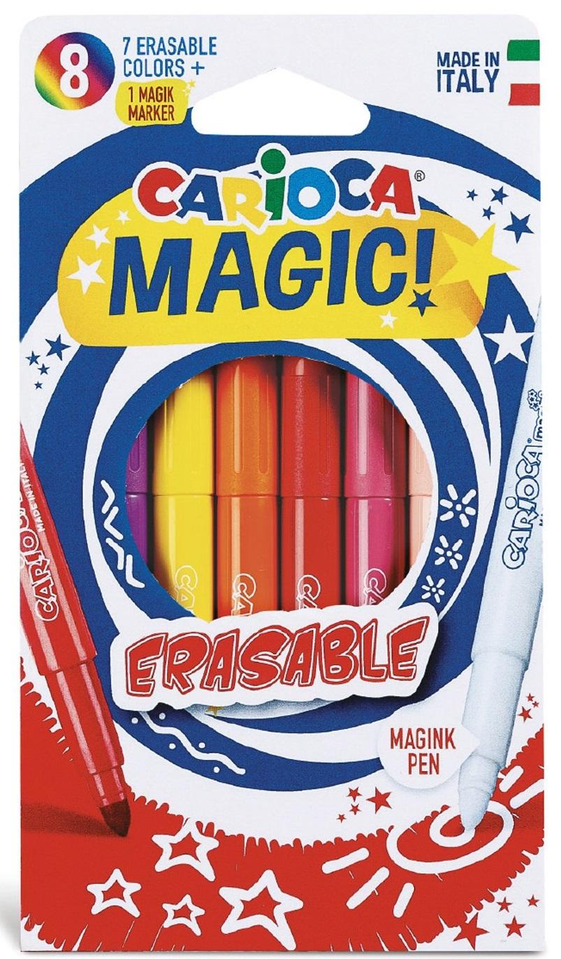 Carioca erasable, varf gros - 6mm, 7 culori 1 erasable marker/cutie, Carioca Magic Erasable