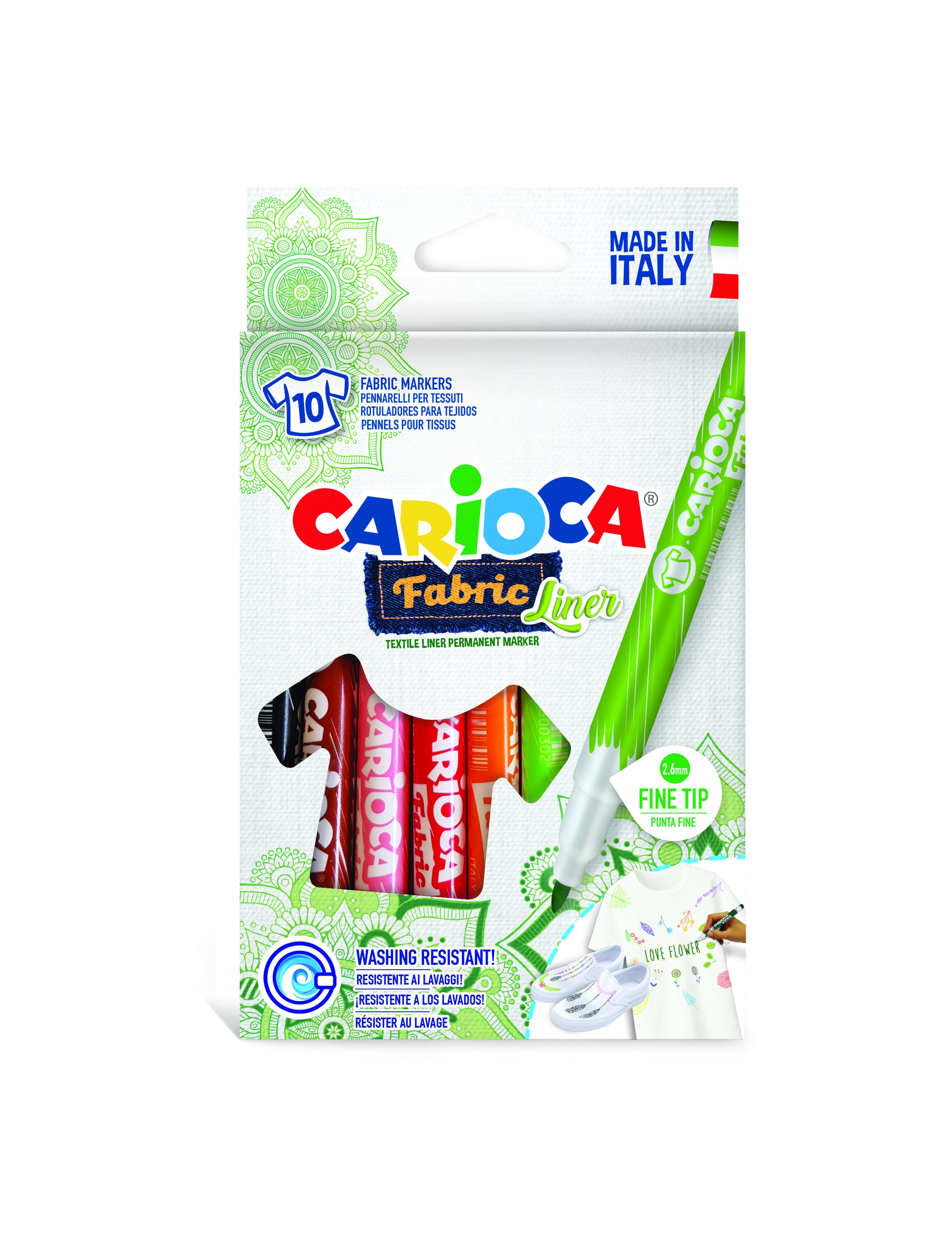 Carioca pentru textile, varf subtire - 2.6mm, rezistent la spalare, 10 culori/cutie, Carioca Fabric