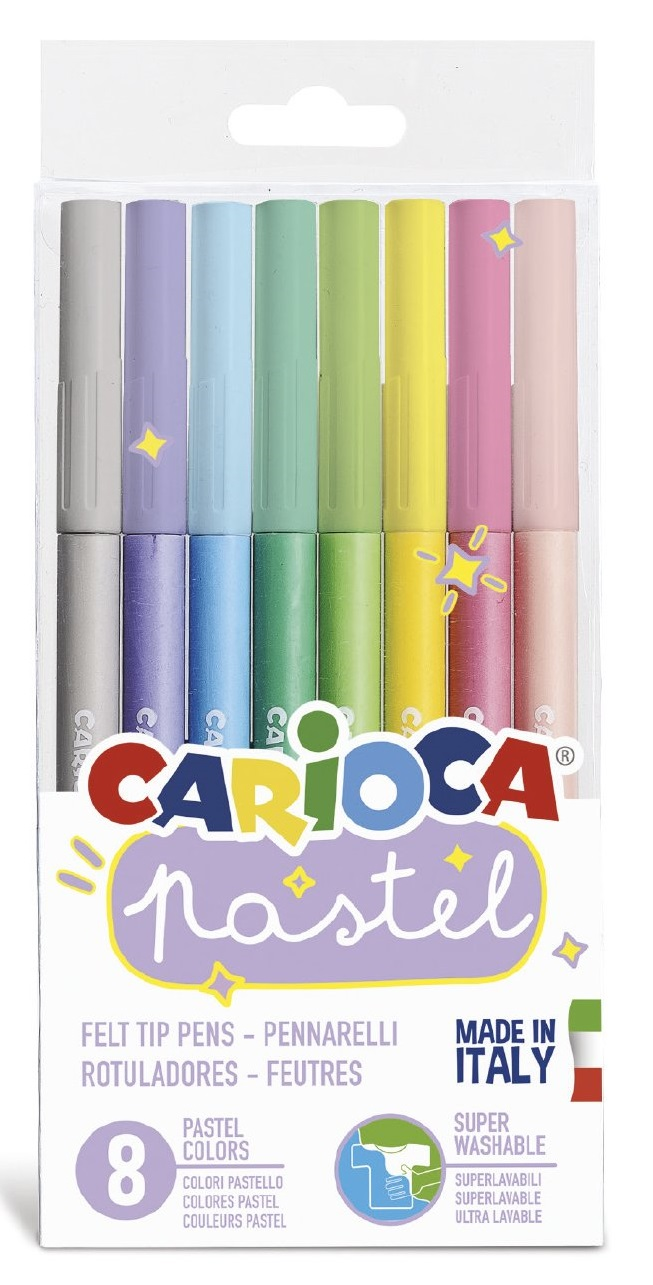 Carioca super lavabila, varf 1-4.7mm, 8 culori/set, CARIOCA Pastel - culori pastel