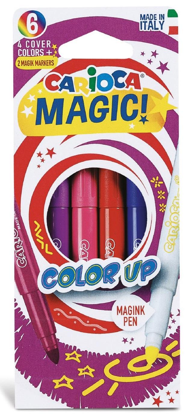 Carioca, varf gros - 6mm, 4 culori 2 magic marker/cutie, Carioca Magic Color Up