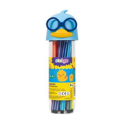 Carioci lavabile, Strigo, Cutie Rata, Albastru, 12 culori