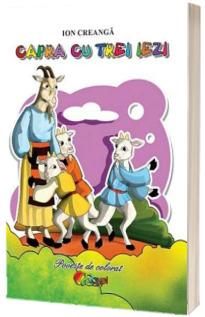 Carte de colorat - Capra cu trei iezi (Poveste de colorat)