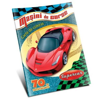 Carte de colorat cu masini de curse