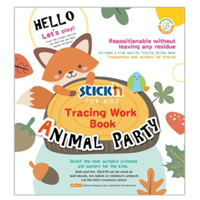Carte educativa Stickn Tracing Work Book - Animal Party