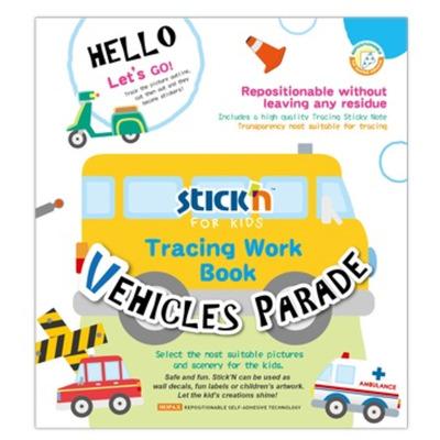 Carte educativa Stickn Tracing Work Book - Vehicles Parade