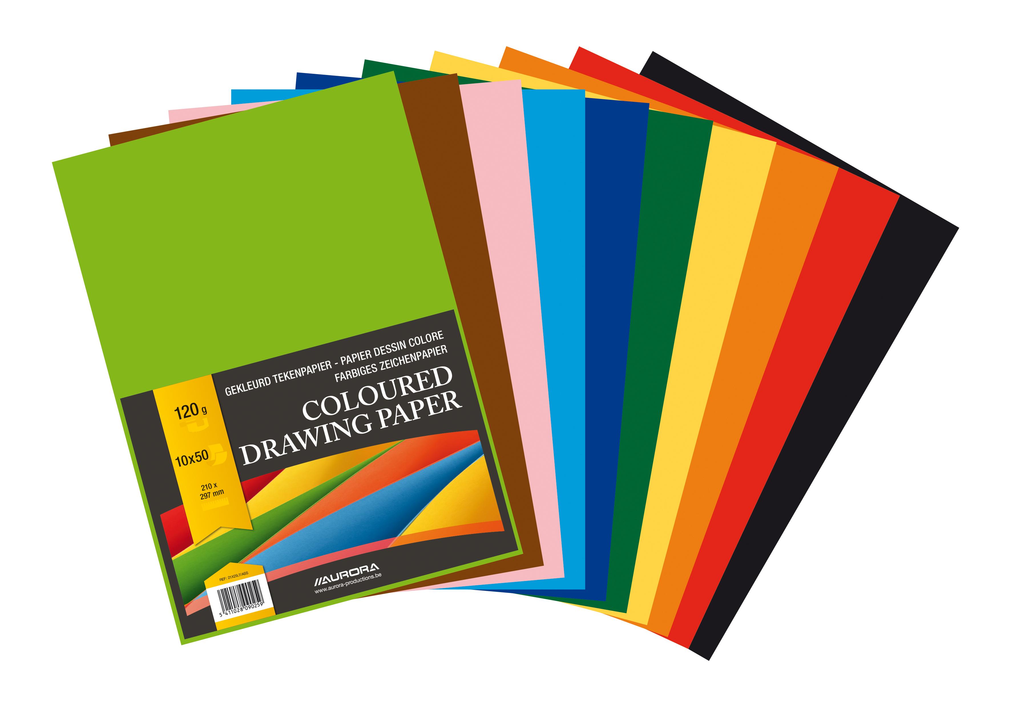 Carton color A3, 160g/mp - 250 coli/top, AURORA Raphael - 10 culori intense
