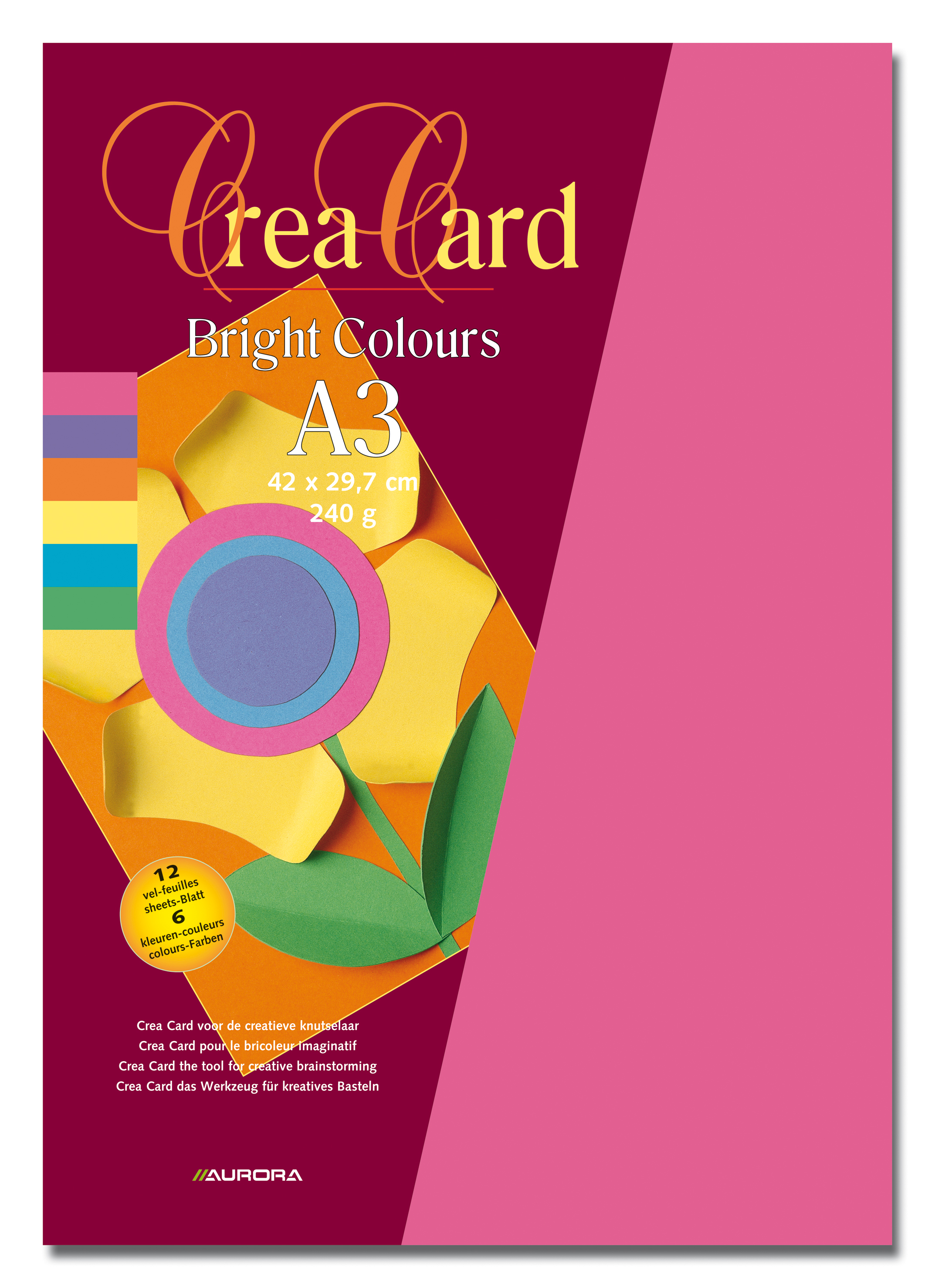 Carton color A3, 240g/mp - 12coli/set, AURORA Raphael - 6 culori intense