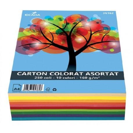 Carton colorat, 10 culori, 160g/mp A4 250 coli, Ecada