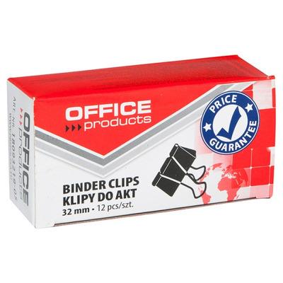 Clip hartie 32mm, 12buc/cutie, negru, Office Products