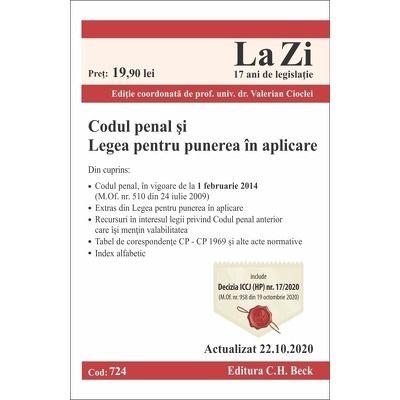 Codul penal si Legea pentru punerea in aplicare. Cod 724. Actualizat la 22.10.2020