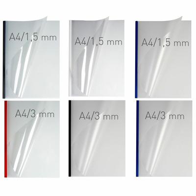 Coperti plastic PVC cu sina metalica 13mm, OPUS Easy Open - transparent mat/negru