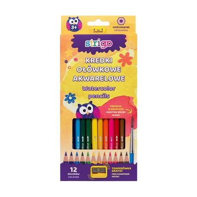 Creioane acuarela, Strigo, cu ascutioare, 12 culori