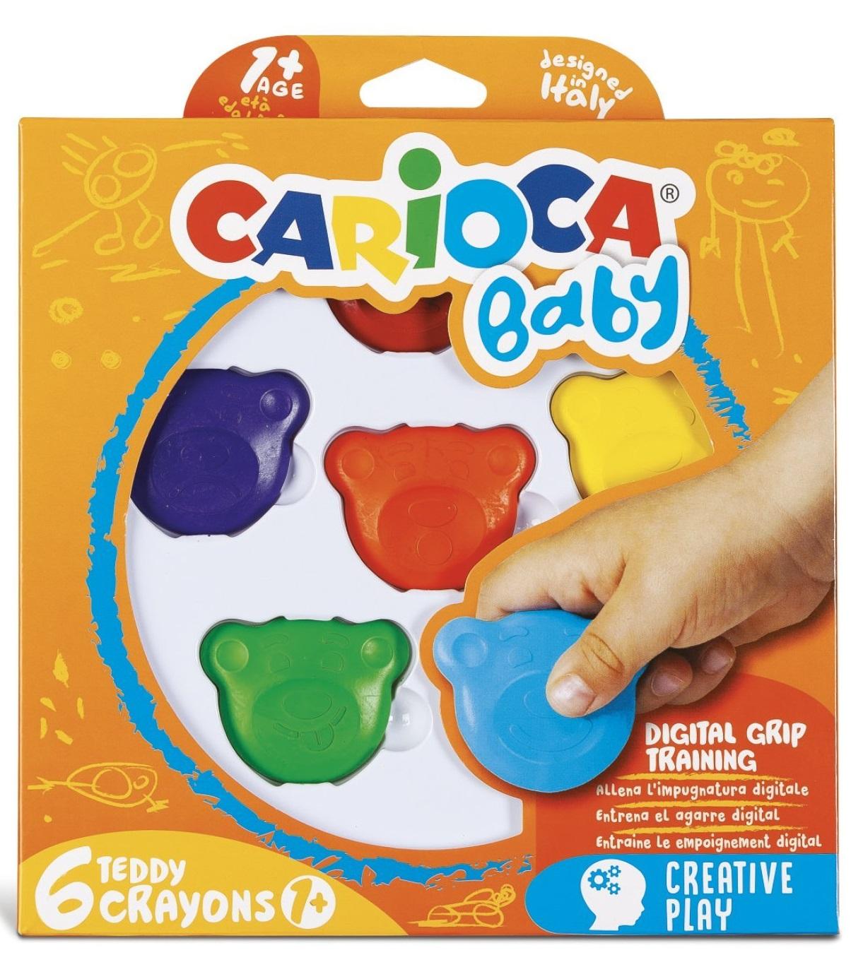 Creioane cerate, forma - cap Teddy Bear, 6 culori/cutie, Carioca Baby Teddy Crayons 1