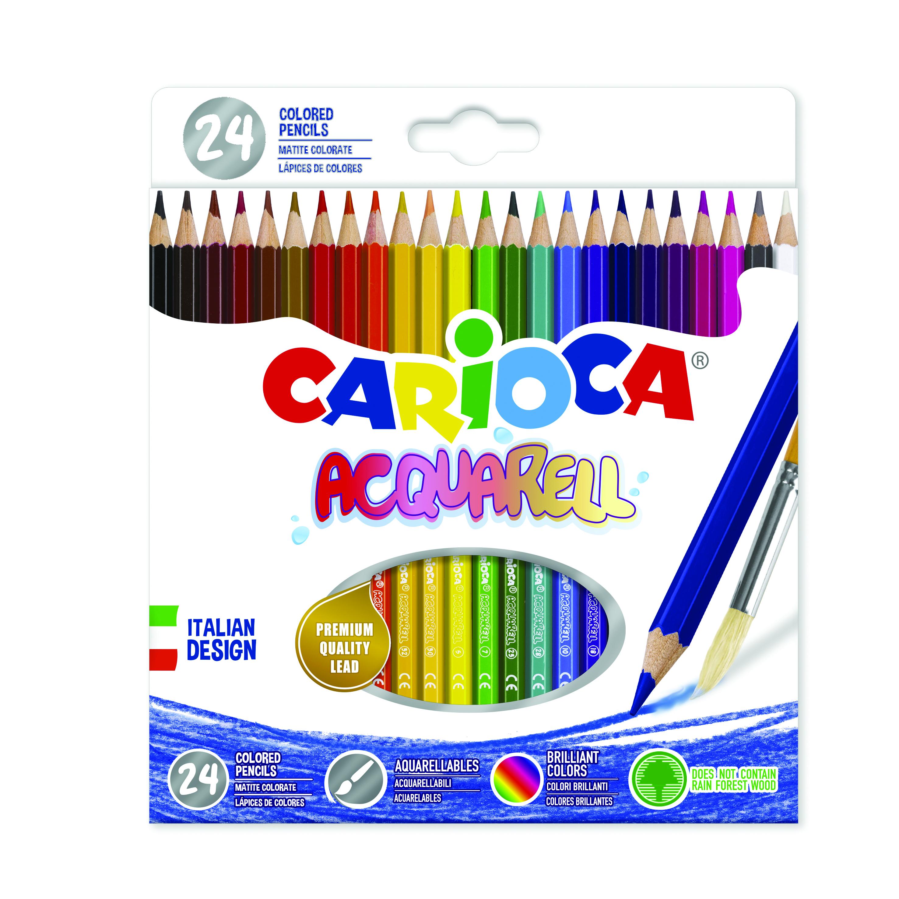 Creioane colorate Carioca Acquarell, hexagonale, 24 culori/cutie - cutie carton