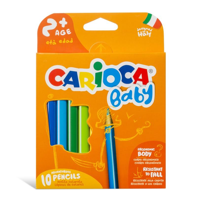 Creioane colorate Carioca Baby 2 , triunghiulare, 10 culori/cutie