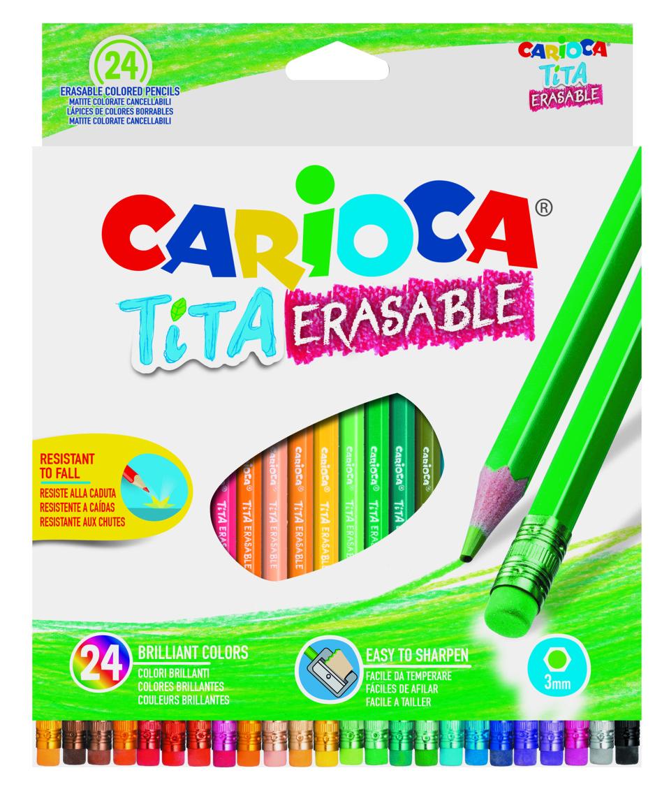 Creioane colorate Carioca Tita Erasable, hexagonale, flexibile, erasable, 24 culori/cutie, cu guma