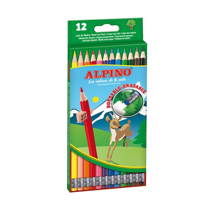 Creioane colorate cu guma, cutie carton, 12 culori/set, Alpino Erasable