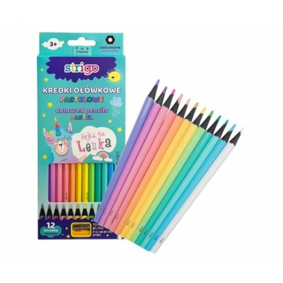 Creioane colorate Strigo pastel 12 culori