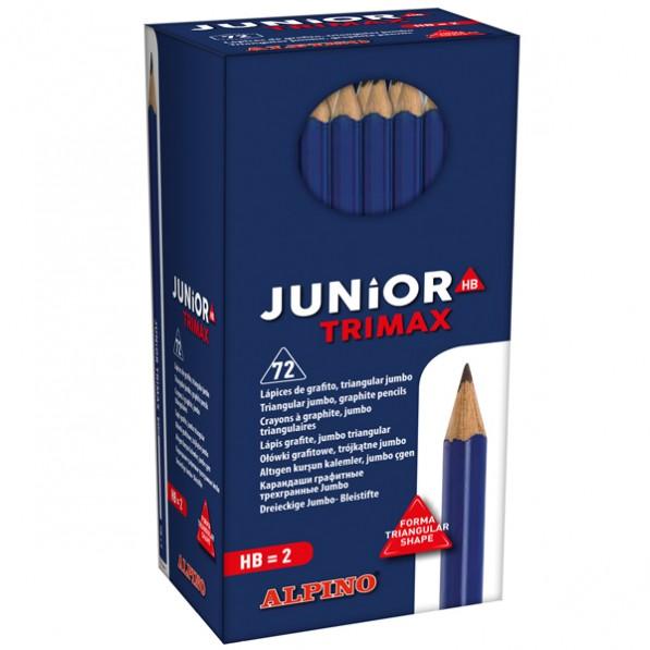 Creioane colorate triunghiulare, cutie carton, 72 buc/cutie, ALPINO Trimax Junior Grafit