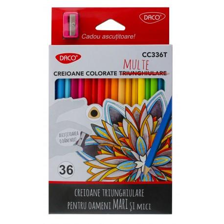 Creioane pentru colorat - set cu 36 de culori si ascutitoare cadou - Daco CC336