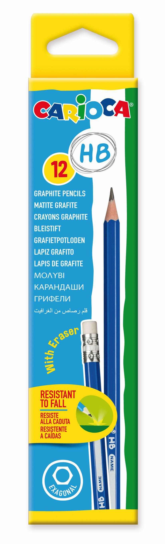 Creion duritate HB, cu radiera, Carioca