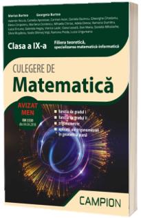 Culegere de matematica, clasa a IX-a - Filiera teoretica, specializarea matematica-informatica