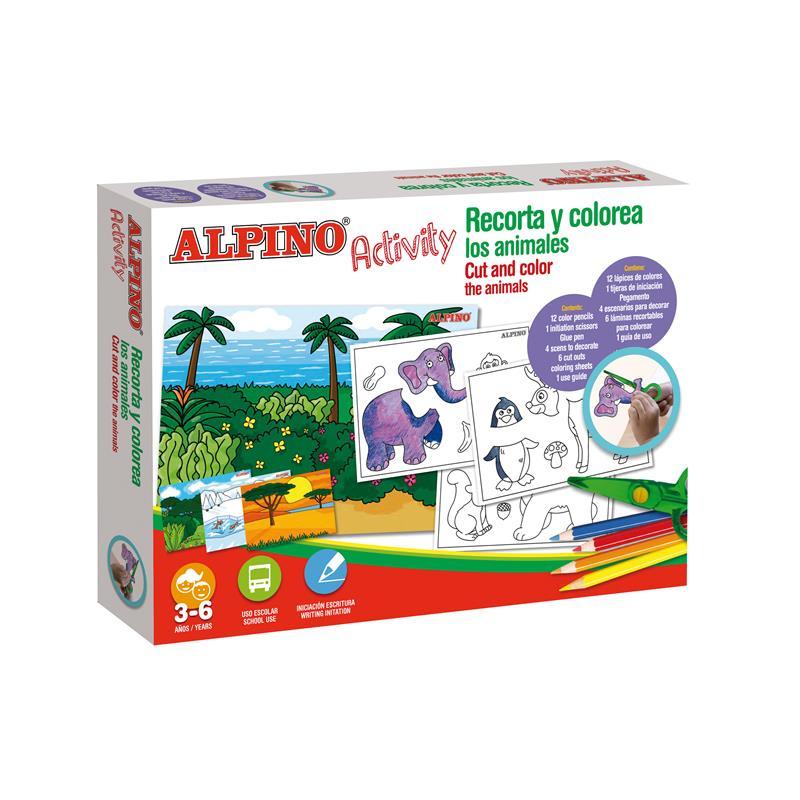 Cutie cu articole creative pentru copii cut and color the animals, Alpino