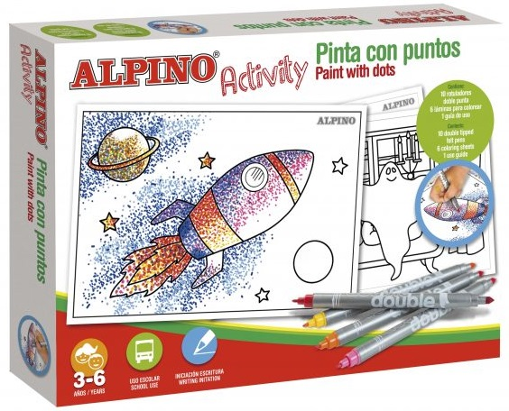 Cutie cu articole creative pentru copii, ALPINO Activity - Paint with dots