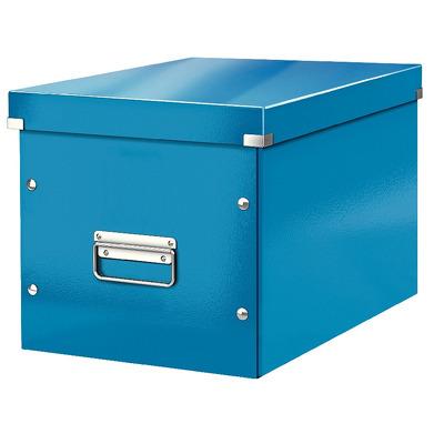 Cutie depozitare LEITZ WOW Click & Store, carton laminat, Cub, mare, albastru